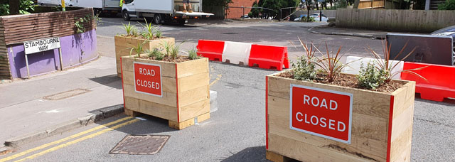 Planters on Stambourne Way