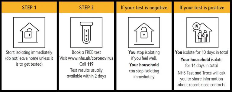 Steps to book a coronavirus test - isolate then book a test online