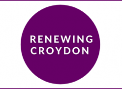 "Graphic of a purple circle on a white background with the words ""Renewing Croydon"" in the centre"